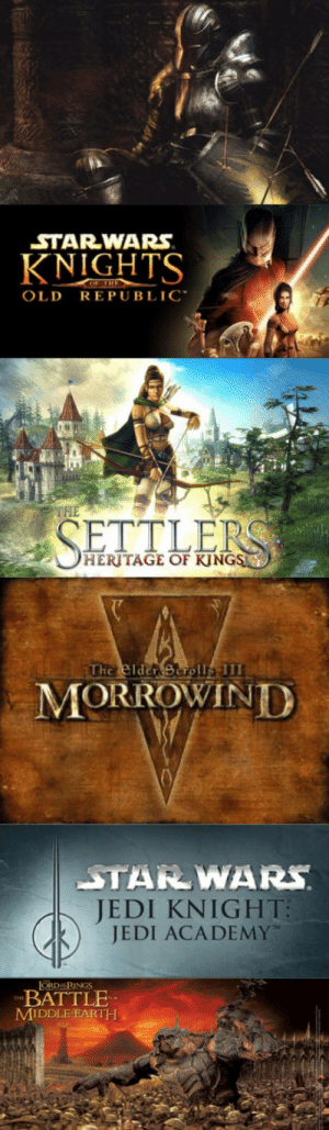 """Jedi, Star Wars, and Academy: STAR-WARS  KNIGHTS  OLD REPUBLIC""""  THE  HERITAGE OF KJNGS  MORROWIND  JEDI KN  GHT  JEDI ACADEMY  ORD RINGS  BATTLE  MIDDLE EARTH Games that need remaster"""