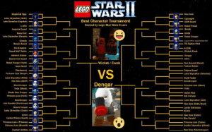 Anakin Skywalker, Darth Vader, and Death Star: STAR  WARS  LEGO  Imperial Spy  Luke Skywalker (Hoth)  Loke Skywalker (Dagobah)  Han Solo  Best Character Tournament  Hosted by Lego Star Wars II-core  Skiff Guard  Ic그  ーヤーRebel Friend  mperial Guard  Boba Fett  Luke Skywalker (Bespin)  Greedo  Bespin Guard  The Emperor  Grand Moff Tarkin  Admiral Ackbar  Gamorrean Guard  Rebel Trooper(Hoth)  Gonk Droid  S <  1G-88  Rebel Trooper  一  TIE Fighter Pilot  D4-LOM  Dengar  Jawa  Wicket Ewok  Ben Kenobl (Ghost)  -  Tusken Ralder  VS  Palace Guard  Luke Skywalker (Tatooine)  Darth Vader  Princess Lela Bespin  Luke Skywalker (Pilot)  Han Solo (Skiff)  .  Dengar.  Princess Leia (Slave)  Yoda  ooper-  Yoda (Ghost)  Death Star Trooper  Princess Leia (Hoth)  Sandtrooper  Rebel Pilot  -Bib Fortuna  Beach Trooper  Luke Skywalker (Endor)  Lobot  Lando (Palace Guard)  Princess Leia/ (Prisonern  Princess Leia (Boushh)  Luke Skywalker Jedi)  Han Solo (Hoth/Hood)  Lando Calrissian  R2-D2  Han Solo (Endor)  Ben Kenobi  Princess Leia (Endor)  Anakin Skywalker (Ghost)  Han Solo (Stormtrooper)  Captain Antilles-. T-Pose wins by 'meme magic'. Now I know I can't influence votes, but fuck you Wicket. Fuck you and your stupid voicelines that sound like someone saying 'somebody owe you money'. Shut the fuck up. I will never not toggle out of you as fast as possible when you show up.  😂 - Wicket/Ewok :o - Dengar