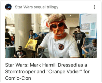 "Mark Hamill, Star Wars, and Stormtrooper: Star Wars sequel trilogy  Star Wars: Mark Hamill Dressed as a  Stormtrooper and ""Orange Vader"" for  Comic-Con <p>Subtle.</p>"