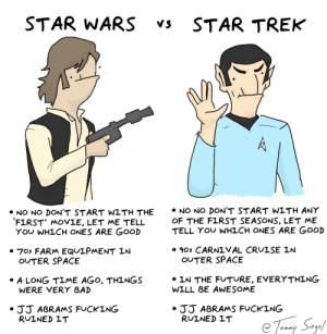 Star Wars vs Star Trek: a guide [OC]: STAR WARS  STAR TREK  Vs  • NO NO DON'T START WITH ANY  OF THE FIRST SEASONS, LET ME  TELL YOU WHICH ONES ARE GOOD  • NO NO DON'T START WITH THE  'FIRST' MOVIE, LET ME TELL  YOU WHICH ONES ARE GOOD  • 90s CARNIVAL CRUISE IN  OUTER SPACE  • 70s FARM EQUIPMENT IN  OUTER SPACE  • IN THE FUTURE, EVERYTHING  WILL BE AWESOME  • A LONG TIME AGO, THINGS  WERE VERY BAD  • JJ ABRAMS FUCKING  RUINED IT  •JJ ABRAMS FUCKING  RUINED IT  e Toany Sigel  ommy Star Wars vs Star Trek: a guide [OC]