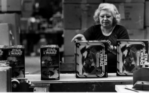 Kenner toy factory - Star Wars production line. 1978 - unknown worker, Cincinnati Enquirer photo archive.: STAR  WARS  STAR  WARS  STAR  TWARS  STAR  TWARS Kenner toy factory - Star Wars production line. 1978 - unknown worker, Cincinnati Enquirer photo archive.