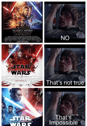 That's impossible: STAR  WARS  THE FORCE AWAKENS  NO  DECEMBER 18  30 REALD 30eIMAX 3D  STAR  WARS  GT HE LAST JED  -  s DECEMDER 15  30 REALD 30 ae IMAX a0  ,m,  That's not true  That's  STAR  WARS  Impossible  THE RISE OF SKYWALKER That's impossible