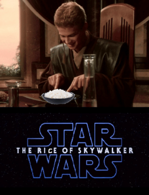 Star Wars, Star, and Rice: STAR  WARS  THE RICE OF SKYWALKER 200,000 grains are ready, with a million more well on the way