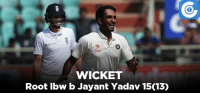IND v ENG, 3rd Test, Day-1: ENG - 51/2 (15): Star  WICKET  Root lbw b Jayant Yadav 15013) IND v ENG, 3rd Test, Day-1: ENG - 51/2 (15)