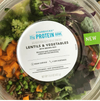 Facts, Memes, and Protein: STARBUCKS  23g PROTEIN BOWL  23 g  SEE NUTAITION FACTS FOR FAT CONTENT  NEW  LENTILS & VEGETABLES  WITH BROWN RICE  sunflower seeds. Lemon tahini dressing.  ⓥVEGAN CERTIFIED  2 CUPS VEGETABLES  PERISHABLE. KEEP REFRIGERATED  NET WT 14.50Z(411g) New vegan lunch option @starbucks!! 😍 vegansofig mercyforanimals whatveganseat veganfoodshare veganoptions veganstarbucks vegansofinstagram plantbased