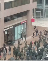 Liberal protesters showing their class in DC. Sad...: STARBUCKS COFFEE  e; Liberal protesters showing their class in DC. Sad...
