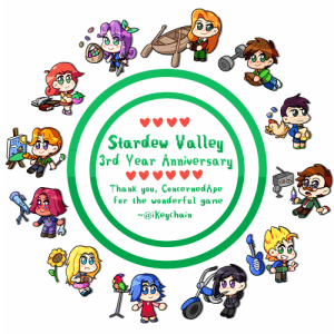 The wonderful iKeychain made this to celebrate Stardew Valley's 3rd anniversary!: Stardew Valley  CI3rd Year Anniversary  Thank you, ConcernedApe  for the wonderful game  @ikeychain The wonderful iKeychain made this to celebrate Stardew Valley's 3rd anniversary!