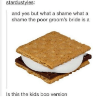 finish the song: stardustyles:  and yes but what a shame what a  shame the poor groom's bride is a  Is this the kids bop version finish the song