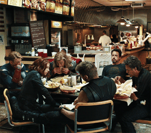 Dude, Life, and Target: starfleetrambo: xshiromorix:  capt-james-t-kirk:  supernaturalfan1:  underthestarssofaraway:  captainmatsuoka:  I like how everyone seems like they're dead tired and Thor's just there going'om nom nom this is a shawarma nom nom nom'  Notice how Clint and Natasha seemed to have appropriated half of each others' chairs.  and I think Tony is just realizing that he literally died and was scared back to life by the man to his left  and steve, being the senior citizen, is simply nodding off  Also, the dude behind the counter just nonchalantly making shawarma for the goddamn Avengers like they come in every day.    #meanwhile loki is outside tied to the bike rack with mjolnir on his chest