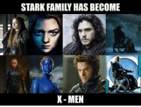 Game of Thrones is mutating 👍 https://t.co/EmxbNhcFRV: STARK FAMILY HAS BECOME  X- MEN Game of Thrones is mutating 👍 https://t.co/EmxbNhcFRV
