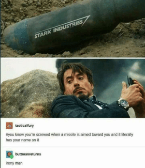This whole operation was your idea.: STARK INDUSTRIES  2  #you know you're screwed when a missile is aimed toward you and it literally  has your name on it  tacticalfury  buttmanreturns  rony man This whole operation was your idea.