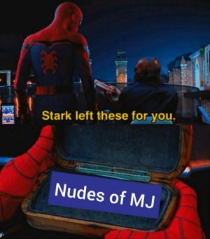 Nudes, Good, and May: Stark left these for you.  Nudes of MJ The only good thing he may have left