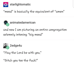 """Big Mood: starlightomatic  """"mood"""" is basically the equivalent of """"amen""""  animatedamerican  and now I am picturing an entire congregation  solemnly intoning """"big mood  2edge4u  """"May the Lord be with you""""  """"Bitch you too the fuck!"""" Big Mood"""
