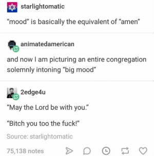 "Bitch, Mood, and Fuck: starlightomatic  ""mood"" is basically the equivalent of ""amen""  animatedamerican  and now I am picturing an entire congregation  solemnly intoning ""big mood""  ""May the Lord be with you.""  ""Bitch you too the fuck!""  Source: starlightomatic  75,138 notes > D。"