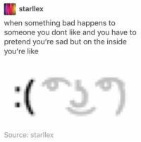 why do people put filters on memes like i don't understand: starllex  when something bad happens to  someone you dont like and you have to  pretend you're sad but on the inside  you're like  Source: starllex why do people put filters on memes like i don't understand