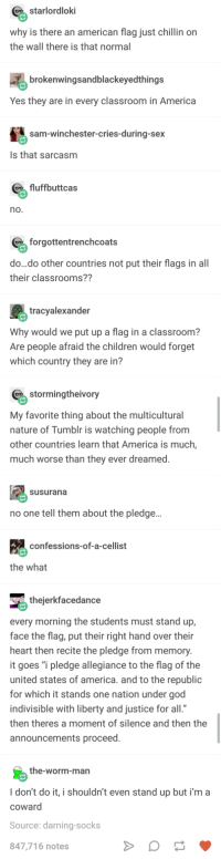 "Context: picture of the American flag in a class: starlordloki  why is there an american flag just chillin on  the wall there is that normal  brokenwingsandblackeyedthings  Yes they are in every classroom in America  sam-winchester-cries-during-sex  Is that sarcasm  fluffbuttcas  no  forgottentrenchcoats  do...do other countries not put their flags in all  their classrooms??  tracyalexander  Why would we put up a flag in a classroom?  Are people afraid the children would forget  which country they are in?  stormingtheivory  My favorite thing about the multicultural  nature of Tumblr is watching people from  other countries learn that America is much  much worse than they ever dreamed.  susurana  no one tell them about the pledge...  confessions-of-a-cellist  the what  thejerkfacedance  every morning the students must stand up,  face the flag, put their right hand over their  heart then recite the pledge from memory  it goes ""i pledge allegiance to the flag of the  united states of america, and to the republic  for which it stands one nation under god  indivisible with liberty and justice for all.""  then theres a moment of silence and then the  announcements proceed.  the-worm-man  I don't do it, i shouldn't even stand up but i'm a  coward  Source: darning-socks  847,716 notes Context: picture of the American flag in a class"