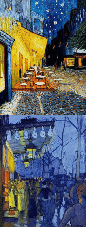 starrypm:  Vincent Van Gogh - Cafe Terrace at Night // Louis Anquetin - Avenue de Clichy : starrypm:  Vincent Van Gogh - Cafe Terrace at Night // Louis Anquetin - Avenue de Clichy
