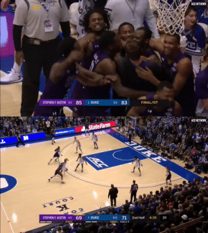We're counting down our Top 10 videos of the year! 🙌  #7: @SFA_MBB's WILD upset against Duke 😳 https://t.co/w3315IvcpD: STARS  ACC NETWORK  KE  STEPHEN F. AUSTIN 5-1  83  85  1 DUKE  6-1  FINAL/OT   ACC NETWORK  State Farm  NCEducation Lottery  JUKE  ACC  20  4:35  2nd Half  71  6-0  1 DUKE  STEPHEN F. AUSTIN 4-1 69  BONUS+ FOULS: 9  BONUS We're counting down our Top 10 videos of the year! 🙌  #7: @SFA_MBB's WILD upset against Duke 😳 https://t.co/w3315IvcpD