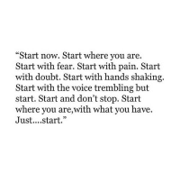 """The Voice, Voice, and Doubt: """"Start now. Start where you are.  Start with fear. Start with pain. Start  with doubt. Start with hands shaking.  Start with the voice trembling but  start. Start and don't stop. Start  where you are,with what you have.  Just....start."""""""