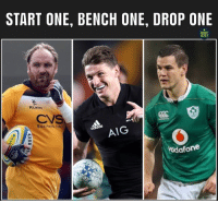 England, Memes, and Goat: START ONE, BENCH ONE, DROP ONE  RUGBY  MEMES  KUKR  CV  Business late  AIG  odafone Too easy 🐐😏 rugby GOAT england allblacks ireland