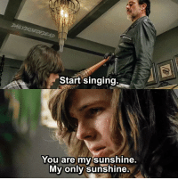 This dude could've won American Idol TheWalkingDead TWD WalkingDead Negan CarlGrimes: Start singing  You are my sunshine.  My Only Sunshine This dude could've won American Idol TheWalkingDead TWD WalkingDead Negan CarlGrimes