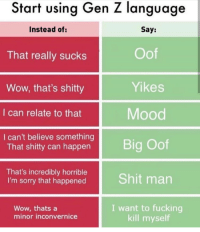 Fucking, Mood, and Shit: Start using Gen Z language  Instead of:  Say:  That really sucks  Wow, that's shitty  I can relate to that  I can't believe something  Oof  Yikes  Mood  That shitty can happen  That's incredibly horrible  I'm sorry that happened  Shit man  Wow, thats a  minor inconvernice  I want to fucking  kill myself