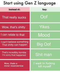 Start using Gen Z language: Start using Gen Z language  Instead of:  That really sucks  Wow, that's shitty  I can relate to that  I can't believe something  Say:  Oof  Yikes  Mood  Big Oof  That's incredibly horrible  I'm sorry that happened Shit man  Wow, thats a  minor inconvernice  I want to fucking  kill myself Start using Gen Z language