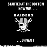 Meme, Nfl, and Book: STARTED AT THE BOTTOM  NOW WE  RAIDERS  OH WAIT  book  Brought By Face  com/NFL Memez Oh wait.. Credit: Chrispy Weber  http://whatdoumeme.com/meme/idh3jy