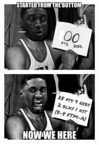 Nba, Roy Hibbert, and Drakes: STARTED FROM THE BOTTOM  00  PTs  REBs.  28 pts  7 REBs  2 BLKs (8-8 FTM-A)  NOWWE HERE Roy Hibbert: Drake Edition! Credit: Roy Gallegos