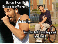 Lel Fak dreke: Started From The  Bottom Now We Here.  Actually  You Started From Degrassi  In a Chair! Lel Fak dreke