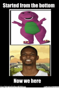 Boshasaurus Growing Up! Credit: New York Knicks Memes  http://whatdoumeme.com/meme/b87k0i: Started from the bottom  NOW We here  Brought By Fac  ebook  com/NBA Memes Boshasaurus Growing Up! Credit: New York Knicks Memes  http://whatdoumeme.com/meme/b87k0i