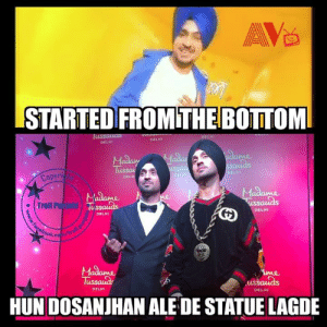 First turbaned Sikh to get Madame Tussauds wax statue❤️   via AV TV: STARTED FROMTHEBOTTOM  lus  DELHI  DELHI  Madam  Tu  ELHI  Copy  DEL  . Troll Puijabl  Ussaias  DELHI  DELMI  me  us  DELHI  DELHI  HUN DOSANJHAN ALE DE STATUE LAGDE First turbaned Sikh to get Madame Tussauds wax statue❤️   via AV TV