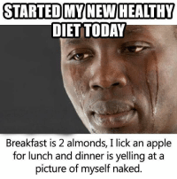 memes Healthy: STARTED MY NEW HEALTHY  DIET TODAY  Breakfast is 2 almonds, I lick an apple  for lunch and dinner is yelling at a  picture of myself naked memes Healthy