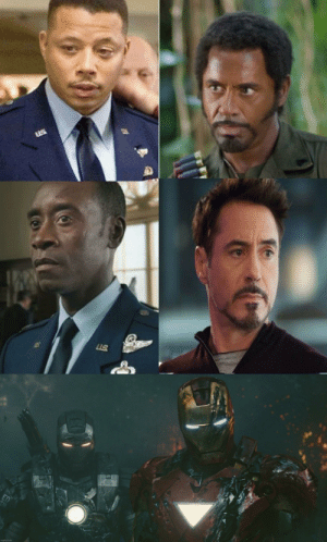 Starting with Iron Man 2 (2010) Robert Downey Jr. was set to play both Tony Stark/Iron Man and James Rhodes/War Machine which is why Terrence Howard was pushed out. The studio realized that this move would cost more than the actual movies themselves, so they settled for Don Cheadle instead: Starting with Iron Man 2 (2010) Robert Downey Jr. was set to play both Tony Stark/Iron Man and James Rhodes/War Machine which is why Terrence Howard was pushed out. The studio realized that this move would cost more than the actual movies themselves, so they settled for Don Cheadle instead