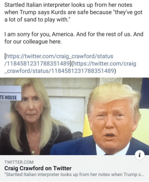 """America, Facepalm, and Fucking: Startled Italian interpreter looks up from her notes  when Trump says Kurds are safe because """"they've got  a lot of sand to play with.""""  am sorry for you, America. And for the rest of us. And  for our colleague here.  [https://twitter.com/craig_crawford/status  /1184581231788351 489](https://twitter.com/craig  crawford/status/1184581231788351489)  TE HOUSE  i  TWITTER.COM  Craig Crawford on Twitter  """"Startled Italian interpreter looks up from her notes when Trump s... What a fucking idiot"""