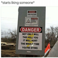 "Time, Voltage, and Via: *starts liking someone*  DANGER  HIGH VOLTAGE  A DANGER  DANGER  NOT ONLY WILL  THIS KILL YOU  IT WILL HURT  THE WHOLE TIME  YOU'RE DYING <p>Potential ? via /r/MemeEconomy <a href=""https://ift.tt/2KMhbon"">https://ift.tt/2KMhbon</a></p>"