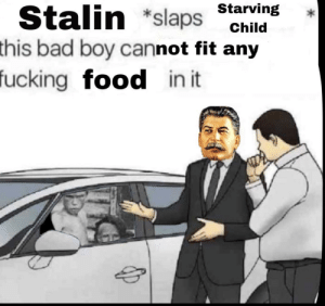 Bad, Food, and Boy: Starving *  Stalin *slaps sr  this  bad boy cannot fit any  ucking food in it 1 like=1 kid in the gulag