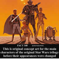 Memes, Nerd, and Star Wars: @starwars.trivia  This is original concept art for the main  characters of the original Star Wars trilogy  before their appearances were changed 🔹Which design do you like the most?🔹 - starwars cool nerd geek