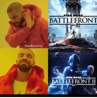 Dope, Memes, and Focus: StarWars Unity  AR WARS  BATTLE FRONT  ARWA  BATTLEFRONT II BF2 looks dope, kind of don't like how it is in multiple eras, just kind of wanted prequels, hopefully they focus more on being able to use different kinds of vehicles, and I really hope they improve lightsabre combat.