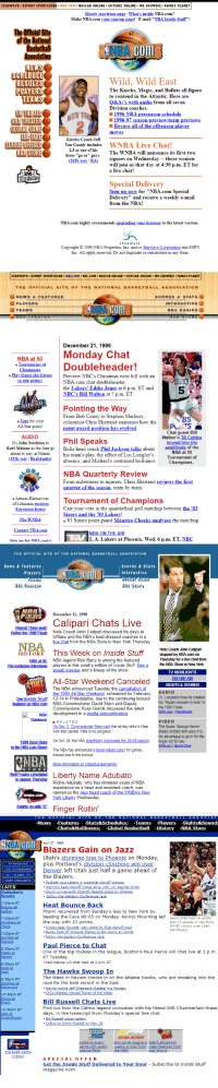 """https://t.co/hrgLzSf3Im  (1996-1999) https://t.co/h1oOd6srJ8: STARWAVE ESPNET SPORTSZONE NBA.COM. NASCAR ONLINE OUTSIDE 0NLINE. MR. SHOWBIZ. FAMILY PLANET  Mostly text front page   What's inside NBA.com?  Make NBA.com your startup page! E-mail """"NBA Inside Stuff""""  The Official Sit  of the Wational  Basketball  BA.COm  HEDUL  RESULT  PTAYER  TEAM  Wild, Wild East  The Knicks, Magic, and Bullets all figure  to contend in the Atlantic. Here are  Q&A;'s with audio from all seven  DİVISIon coaches.  1996 NBApreseason schedule  1996-97 season preview/team previews  Revie all of the offseason player  moves  AAREKnlcundl ime WNBA Live Chat  LEUHIES hisThe WNBA will anounce is first two  Coach Jeff  Van Gundy includes  LJ as one of  The WNBA will announce its first tvo  signees on Wednesday -- those women  will join us that day at 4:30 p.m. ET for  a live chat!  three """"go-to"""" guys.  (263k wav  RA)  ¡Loves  this game  ecial Delivery  Sign up now for """"NBA.com Special  Delivery and receive a weekly e-mail  from the NBA!  Sp  NBA.com highly recommends upgrading your browser to the latest version.  STARWAVE  Copyright S 1996 NBA Properties, Inc. and or Starwave Corporation and ESPN  Inc. All rights reserved. Do not duplicate or redistribute in any form.   STARWAVE-ESPNET SPORTSZONE NBA.COM NFL.COM NASCAR ONLINE. OUTSIDE ONLINE MR. SHOWBIZ FAMILY PLANET  THE OFFIGIAL SITE OF THE NATIONAL BASKETBALL ASSOCIATIO N  NEWS & FEATURES  PLAYERS  TEAMSs  SCORES & STATS  INTERACTIVE  NBA BASICS  BATHEATER  NBA ST  December 21, 1996  Monday Chat  BA at 50  ourmnent ofDoubleheader!  Play Guess the GreatsPreview NBC's Christmas twin bill with arn  CELTICS  5  to win prizes!  NBA.com chat doubleheader:  the Lakers' Eddie Jones at 6 p.m. ET and  NBC's Bill Walton at 7 p.m. ET  Pointing the Way  From Bob Cousy to Stephon Marbury,  columnist Chris Ekstrand examines how the  point guard position has evol  LL STAA IEEREND  Vote for your  BS  All-Star picks!  AUDIO  Karl Malone as the Jazz go  Chat gu"""