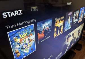 Whoever did this is certainly a rising star in the company.: STARZ  НОME  Tom Hanksgiving  THE  ENPIXAR  DAVINCI CODE  TOY  STORY  ANGELS&DEMGNS  ons Whoever did this is certainly a rising star in the company.