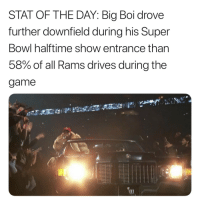 Stat of the day! https://t.co/60cv2bT6B4: STAT OF THE DAY: Big Boi drove  further downfield during his Super  Bowl halftime show entrance than  58% of all Rams drives during the  game Stat of the day! https://t.co/60cv2bT6B4