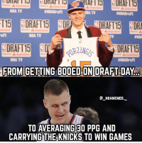 Respect to Porzingis 🙏🏽🔥 - Follow @_nbamemes._: State  NBA TV  #NBADraft  TV  ENBADraft  RAFT15 DR  DRAFT 15  FROM GETING BOOED ON DRAFT DAYnp  te Farm  State Farm  aft  NBA TV  TV  DRAFT15  minap StateFarm  NBA TV  #NBADraft  @_ABAMEMEs.一  TO AVERAGING 30 PPG AND  CARRYING THE KNICKS TO WIN GAMES Respect to Porzingis 🙏🏽🔥 - Follow @_nbamemes._