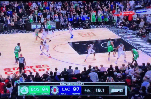 JAYSON TATUM, my goodness!  https://t.co/eIb8WAUal7: StateFarm  NBA Com ass  12  36  STAPLES  t er  NBA WEDNESDAY  SayaBOS 94  LAC 97  19.1  4th  ESFT  TO: 0  BONUS  TO: 2  BONUS JAYSON TATUM, my goodness!  https://t.co/eIb8WAUal7