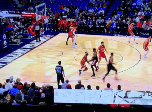 Melo hits his first three back in the NBA, you love to see it!🔥 https://t.co/1IEVoRKjs3: Statefarm  Se  a Melo hits his first three back in the NBA, you love to see it!🔥 https://t.co/1IEVoRKjs3