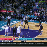 This is bad, even for DeAndre Jordan...: Stateharm  t  LA CLIPPERS 74  69  CHARLOTTE  3RD QTR  6:22  HORNETS  ds home sophomore CB Tony Brown for a violation of team rules. This is bad, even for DeAndre Jordan...