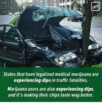 It's hard to get into a traffic accident from your couch.: States that have legalized medical marijuana are  experiencing dips in traffic fatalities.  Marijuana users are also experiencing dips,  and it's making their chips taste way better. It's hard to get into a traffic accident from your couch.