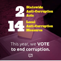 IT'S TIME TO GET PUMPED!: Statewide  Anti-Corruption  Acts  Local  Anti-Corruption  leasuress  This year, we VOTE  to end corruption.  Us IT'S TIME TO GET PUMPED!