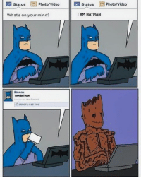 "Batman, Facebook, and Joker: status  Photo/Video  Status l2 Photo/Video  I AM BATMAN  What's on your mind?  Batman  I AM BATMAN Good Knight Gothamites! Tomorrow we'll continue our history session ""The ABC's of The Joker""! Since tonight was the premier of Guardians of the Galaxy Vol. 2, I leave you tonight with a web comic created by the comic strip @PicturesInBoxes! I think Batman and Groot have found a common ground 😄. To see more of @PicturesInBoxes' hilarious and topical comic book content, please check out their websites at picturesinboxes.com, picturesinboxescomic.tumblr.com, twitter.com-picturesinboxes and ""like"" @PicturesInBoxes of Facebook at Facebook.com-Picturesinboxes! As always, thanks for following and all of the constant support, have a great night and we will have more History of the Batman tomorrow. Remember Gothamites, it's all about Peace, Love and Batman! ✌🏼💙🦇🎨"