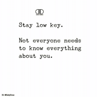 Chill, Low Key, and Memes: Stay low key.  Not everyone needs  to know everything  about you.  IG: Daily Dose A low-key person is someone who is chill, easy-going, and simple. There's no confusion in whether or not someone is low-key; they're pretty easy to spot once you filter through all the attention-seekers. shh . 🥂 @timkarsliyev